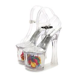 64647359994 Super High heeled Women s Sandals Chunky heel Peep toe transparent Platform  Flower crystal Show s shoe 18cm Ankle Buckle Strap Sandal