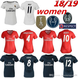 Wholesale Women Real Madrid home white Soccer Jerseys Real Madrid Women away soccer Shirts lady rd red Football uniforms ASENSIO girl