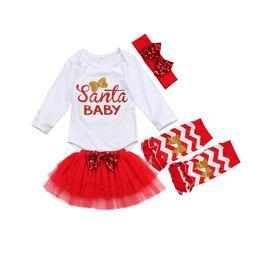 8b25b4f35 5 Pcs 2018 New Christmas Set Newborn Baby Girls Santa Long Sleeve Romper  Tulle Skirt Leg Warmer Headband Outfits Clothes Set