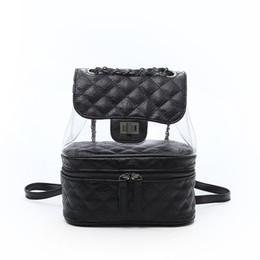 Sac Laptop UK - 2018 Luxury leather designer bags clear bag transparent backpacks handbag lady Backpack Laptop Sac à main girl Women 4colors 180503006