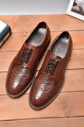 $enCountryForm.capitalKeyWord NZ - High-end brown lace-up dress shoes 2219 Men Dress Shoes Moccasins Loafers Lace Ups Monk Straps Boots Drivers Real leather Sneakers Shoes