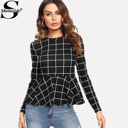 58c6c081f23c Sheinside 2017 Black Plaid Grid Peplum Ruffle Blouse Round Neck Long Sleeve  Elegant Top Women Elegant Work Wear Blouse