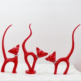 $enCountryForm.capitalKeyWord NZ - 3pcs Kawaii Creative Red Cat Home Decoration Resin Craft Figurines Cat Ornament Festive Craft Gift Miniature Animals for Friends