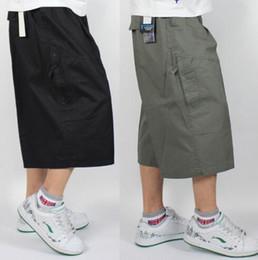 Diseñador de la marca Plus Size Big Fat Mens Pantalones Cortos de Carga Larga Pantalones Rectos de Algodón Hasta la Pantorrilla Pantalones Cortos Flojos de Verano Ocasionales en venta