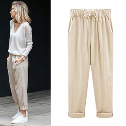 27251e1f2c0 Drawstring Linen Pants Women Canada - M-6XL Plus Size Women Pants Linen  Cotton Casual