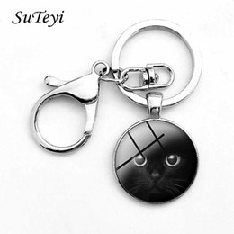 Discount trendy cat glasses - Suteyi Glass Gems Pendant Keychain Silver Color Round Charms Personality Black Cat Keychain Holder Car Key Ring For Men