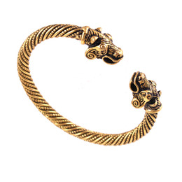 China VB300028 Gold color Nordic Viking Bear Cuff Bracelet Scandinavian Historical Costume Men Jewelry supplier vikings bracelet suppliers