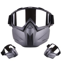 Windproof Motorcycle Helmets Australia - tactical hunting half face mask glasses Motorcycle Helmet Riding Detachable Modular Face Mask Windproof Breathable Shield Goggles Outdoors