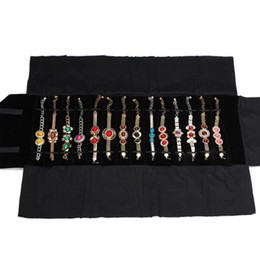 Rolling Display Cases Canada - New Arrival Jewelry Display Portable Carrying Case Black velvet Storage Watch Holder Travel Roll Bag Convenient for Exhibitor 16