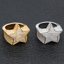 Gold plated copper rinG online shopping - Men s Fashion Copper Gold Color Plated Ring Exaggerate High Quality Iced Out Cz Stone Star Shape Ring Jewelry