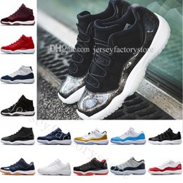 Suede Basketball Shoes NZ - with box high cut New series 11 Velvet Heiress red blue Grey Suede Basketball Shoes Men Spaces Jams 11S XI Sports Shoes US 5.5-13 Eur 36-47