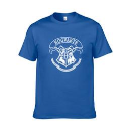 2feb7e120 Hogwarts college T shirt Harry Potter short sleeve gown Cool leisure tees  Anime printing clothing Unisex cotton Tshirt