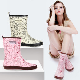 pink rain boots Australia - womens fashion print mid-calf rain boots rubber boots waterproof wear antiskid pink and colours white rain gear for women