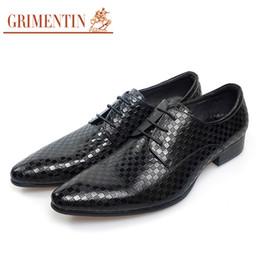 Grimentin Shoes UK - GRIMENTIN Hot sale Italian fashion formal mens dress shoes gingham grain leather men oxford shoes genuine leather business wedding men shoes