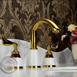 $enCountryForm.capitalKeyWord Australia - Double handle Gold bathroom basin Faucet.Wing-Shaped 3 hole water faucet.Gold plated bathroom basin sink Mixer Tap GY-607K