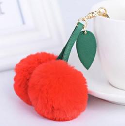 Led Drop Pendant Australia - Cute Cherry Artificial Rabbit Fur Ball Keychain Keyring Pompom Leaf Handbag Pendant Car Key Chian Ring Holder