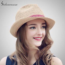 499f5c31 Sedancasesa Summer Hats Raffia Straw Hat for Women Beach Fedoras Casual  Panama Sun Hats Jazz Caps Crochet Straw hat SM026070