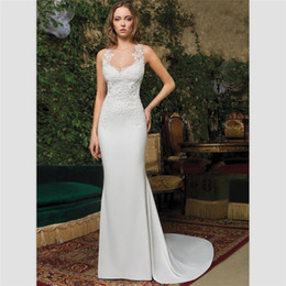 country white wedding dresses Canada - 2018 Cheap White Chiffon Beach Wedding Dresses Custom Sexy Cap Sleeves Bridal Gowns Custom Sweep Train Appliques Country Bridal Dresses