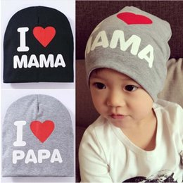 infant spring hats for boys 2019 - 100Pcs Baby I love Mom And Dad Caps Infant Cotton Children Hats Beanies Cap for Toddler Boys Girls discount infant sprin