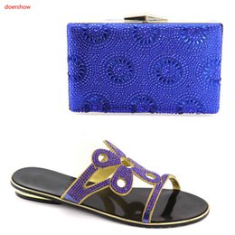 $enCountryForm.capitalKeyWord Canada - 2018 Blue shoes And Clutch Bag High Quality Matching Italian Shoes and Bag Set Decorated With Peacock Rhinestone LY7-7