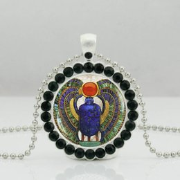 Egypt Pendants Australia - New Egyptian Scarab Necklace Ancient Egypt Pendant Jewelry Crystal Pendant Ball Chain Long Necklace
