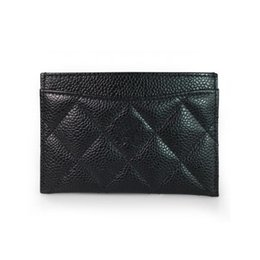 Leather business cases online shopping - card holder case credit cards black plaid X8cm Classic Black quilted Caviar Lambskin leather female Card pack