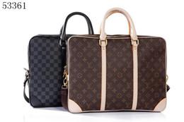 Leather brown briefcase online shopping - Men Shoulder Briefcase Black Brown Leather Handbag Business Men Laptop Bag Messenger Bag Color
