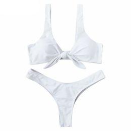d0fa9eff9f0c5 Swimsuit New Arrival Women Knotted Padded Thong Bikini Set Mid Waisted  Solid Color Scoop Neck Brazilian Biquni Beach Swimwear