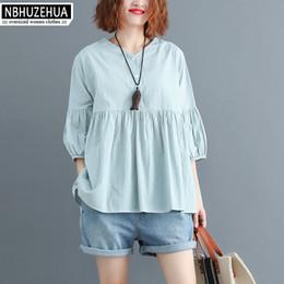 $enCountryForm.capitalKeyWord NZ - NBHUZEHUA A358 Women Summer Blouse Shirts Plus Size V Neck Female Lady Top Big Size Loose Cotton Linen Sweet White Shirt 4XL 5XL