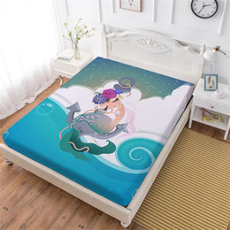 quality textiles Australia - Cartoon Mermaid Bed Sheet Anchor Flower Print Fitted Sheet Ocean Wave Painted Bedclothes Mattress Cover Home Textile D35