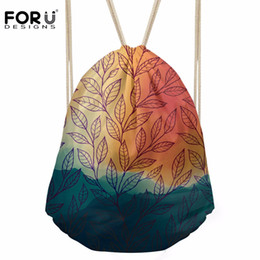 Drawstring Bags For Kids Canada - FORUDESIGNS Women's Leaves Paern Drawstring Bag Females Fashion-Back-Pack for Travel Girls Kids School Package Bolsos Mujer