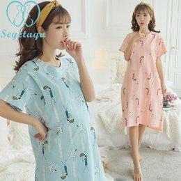 997ee70421 203  Cartoon Printed Cotton Maternity Nursing Nightdress Summer Nightgown  Sleepwear for Pregnant Women Pregnancy Nightwear