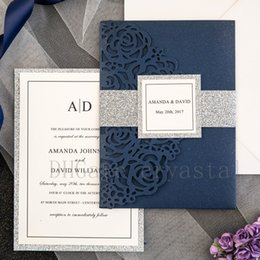 House band online shopping - 2018 Beautiful Navy Blue Rose Laser Cut Pocket Wedding Invitations With Glitter Silver Belly Bands And Tags Provide Free Printing