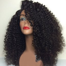afro american wigs human hair Canada - Mongolian Kinky Curly Human Hair Lace Wigs With Baby Hair Afro Kinky Curly Glueless Full Lace Human Hair Wigs For African Americans