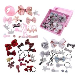 Girls Princess Hair Australia - 18Pcs set Kid Baby Girl Infant Baby Hair Claw Bowknot Flower Bling Cotton Hair Accessories New Cute Princess Headwear Wholesale