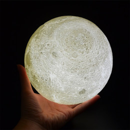 lamp night stand NZ - Moon Lamp, 3D Printing LED Night Light Lunar Moon Light with Stand and Warm & Cool Two Colors and Dimmable & USB Rechargeable for Baby Kids