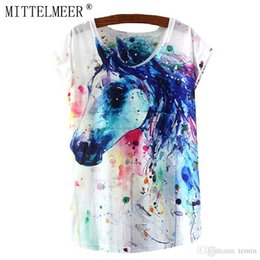 59099869 Wholesale-MITTELMEER New T-Shirt Women O-Neck Short Sleeve Casual Summer  Tops For Ladies Animal Print Colorful Horse Tees Cool T shirt
