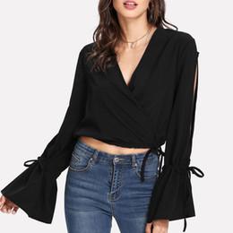 44bf43987c9 Black Solid Long Sleeve Women Blouse Shirt Fashion Lace Up Cross V Short Crop  Tops Elegant Sexy Ladies Blouse Tops Shirt