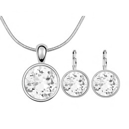 863cd8d0b Swarovski Crystal Stud Earrings Canada - Round White Crystal From Swarovski  Elements Fashion Circle Pendant Necklace