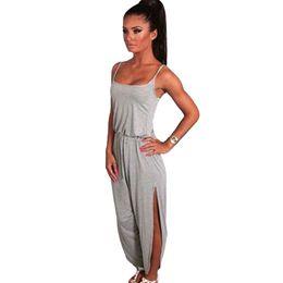 914dfa9e2a1 2018 Sexy Women Strappy Jumpsuit Drawstring Waist Split Cuff Solid Romper  Wide Leg Long Pants Grey Dark Grey Summer Jumpsuits