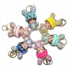 $enCountryForm.capitalKeyWord Australia - High Quality Cute Monchichi Doll Keychains Pendants Crystals Rabbit Ears Rhinestones Bag Key Rings Decorations Accessories
