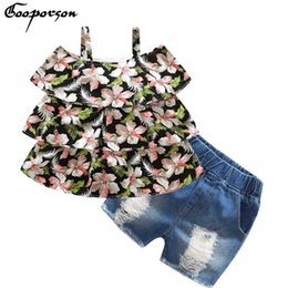 China Gooporson Summer Girls Clothing Set Off Shoulder Little Flower Printed Cake Dress +jeans Shorts 2 Pcs Children Clothes 2018 supplier girls flower cake dress suppliers