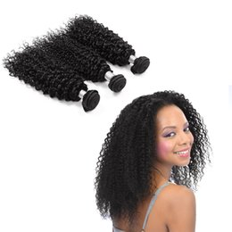 Buy Wholesale Brazilian Human Hair UK - 100% Unprocessed Afro Peruvian Curly Weave 8-30inch Hair Extensions Natural Black Color Human Hair Bundles Can buy 3 Bundles