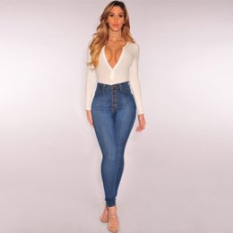 $enCountryForm.capitalKeyWord NZ - Women High Waisted Skinny Denim Jeans Stretch Slim Pants Calf Length Jeans women pantalon femme nice air permeability