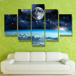 Multi Set Canvas Prints Australia - 5pcs set No Frame Wall Art Picture Printed Canvas Oil Painting Multi-picture Combination Home Dormitory Decor Moon and Star