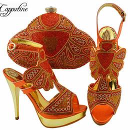 e0880c5617139 Venta al por mayor Fashion Design Spike Heels Orange Shoes And Bag Set  Italian Style Pumps 11.5CM Shoes y juego a juego de bolsas para bodas