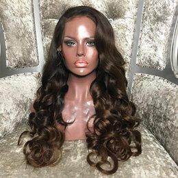 $enCountryForm.capitalKeyWord Australia - Brazilian Remy Human Hair Ombre Color Loose Curly Full Lace Wigs with Baby Hair 1b 4# Curly Lace Front Human Hair Wigs