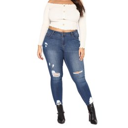 96958612fe5 Plus Size Woman Scratched Buttons Down Denim Pants High Waist Ripped Wash Denim  Butt Lifting Skinny Jeans 2XL--7XL