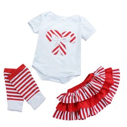 China Christams baby girls candy cane pattern romper red striped skirt leg warmer dresses outfits children toddler baby girls kid clothing 0-3T cheap candy color skirt suppliers