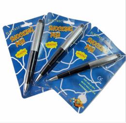 Plastic ballPoints Pens online shopping - April Fools Day fancy ballpoint pens Pen Shocking Electric Shock Toy Gift Joke Prank Trick Fun prank trick joke toys